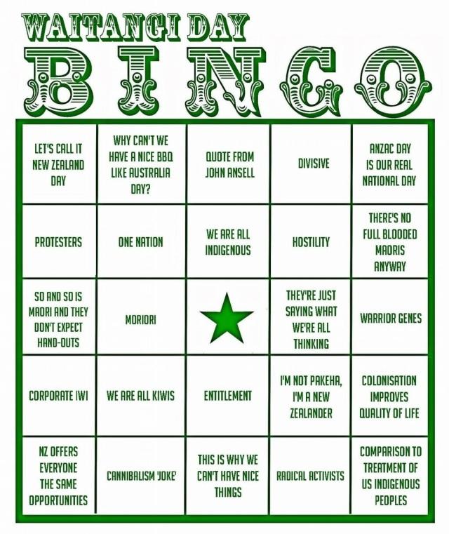 Coley Tangerina and Megapope's Waitangi Day Bingo
