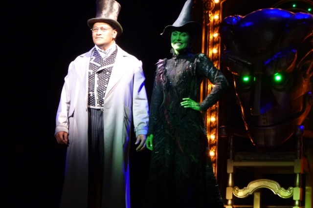 Jay Laga'aia and Jemma Rix take on the roles of The Wizard and Elphaba, the Wicked Witch of the West in this production of Wicked
